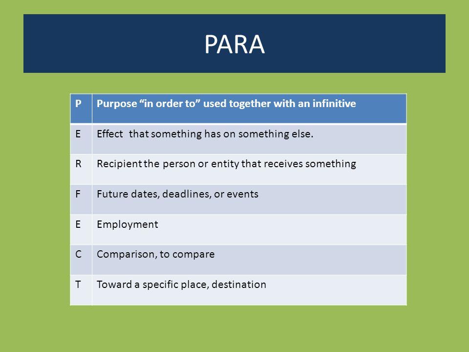 Ejemplos para para PPurposeLeí el libro para comprenderlo mejor.