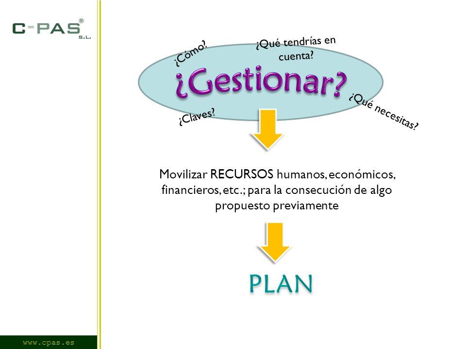 Movilizar RECURSOS humanos, económicos, financieros, etc.; para la consecución de algo propuesto previamente ¿Qué necesitas.