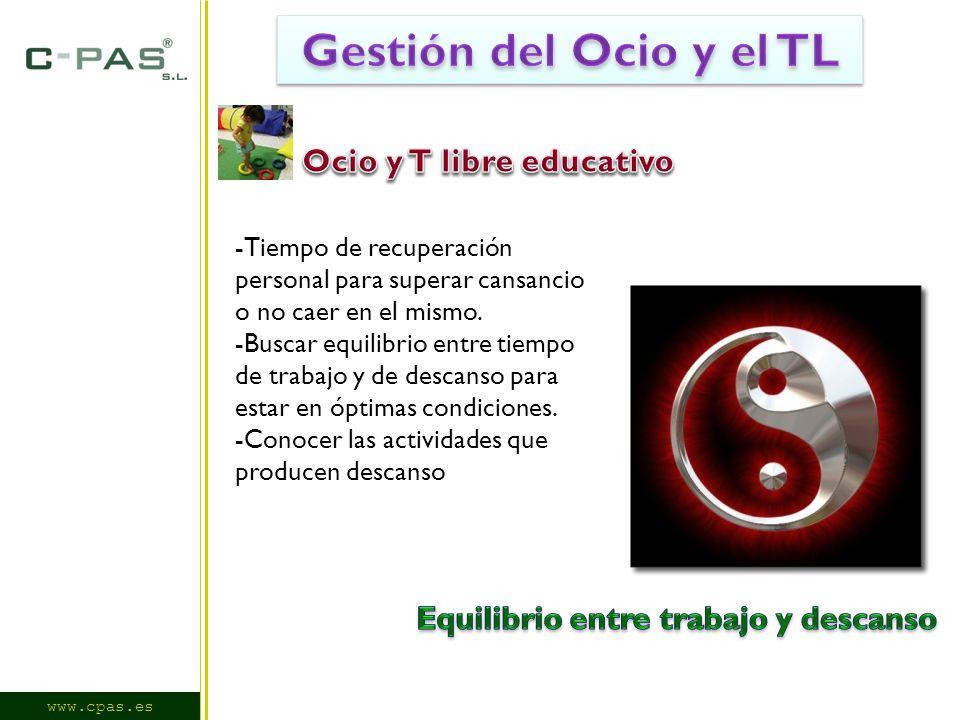 www.cpas.es -Tiempo de recuperación personal para superar cansancio o no caer en el mismo.
