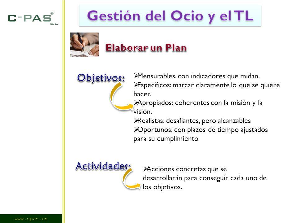 www.cpas.es Mensurables, con indicadores que midan.
