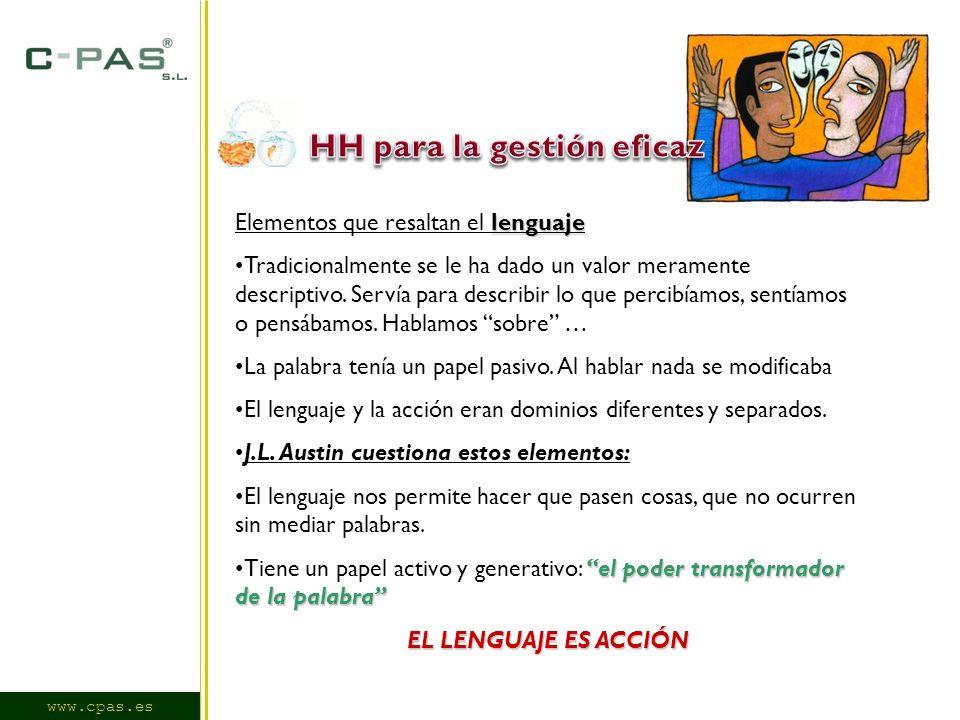 www.cpas.es lenguaje Elementos que resaltan el lenguaje Tradicionalmente se le ha dado un valor meramente descriptivo.