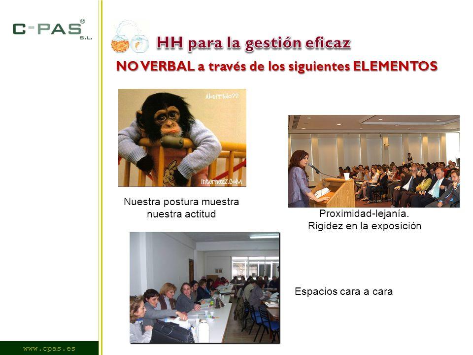 www.cpas.es NO VERBAL a través de los siguientes ELEMENTOS Nuestra postura muestra nuestra actitud Proximidad-lejanía.