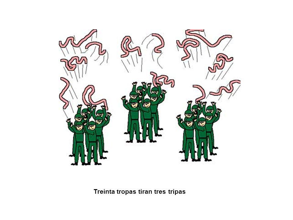 Treinta tropas tiran tres tripas