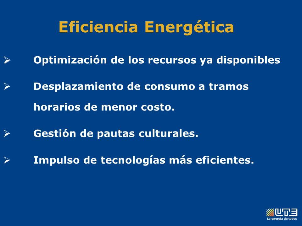 Eficiencia Energética Optimización de los recursos ya disponibles Desplazamiento de consumo a tramos horarios de menor costo.