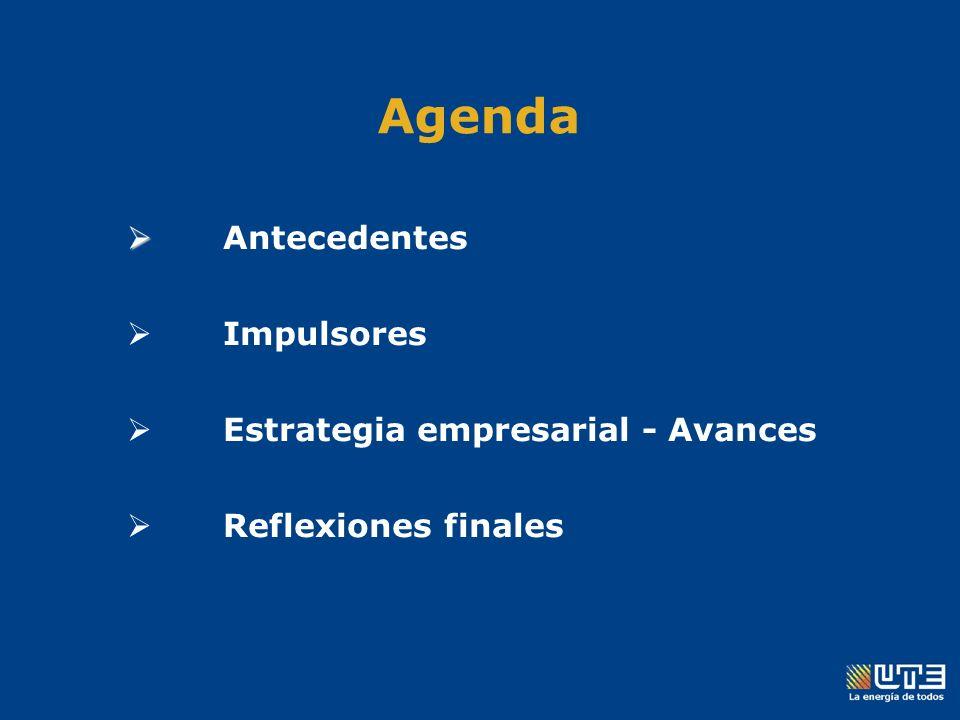 Agenda Antecedentes Impulsores Estrategia empresarial - Avances Reflexiones finales