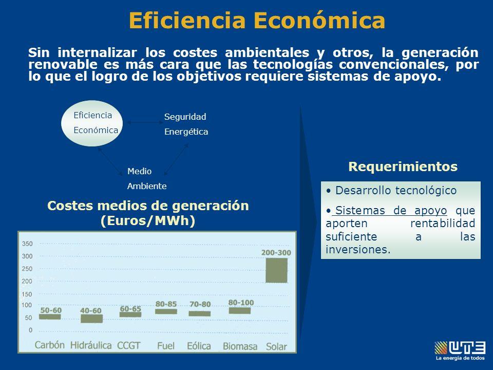 Eficiencia Económica Sin internalizar los costes ambientales y otros, la generación renovable es más cara que las tecnologías convencionales, por lo que el logro de los objetivos requiere sistemas de apoyo.