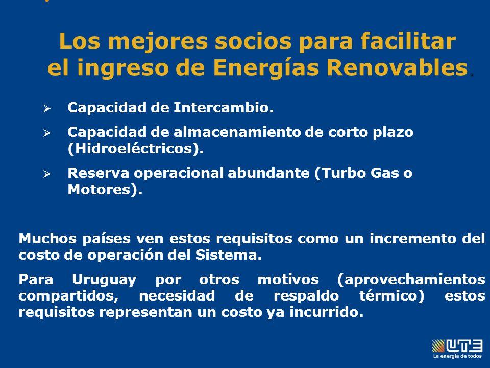 : Los mejores socios para facilitar Ingreso de Energías Renovables: Capacidad de Intercambio.