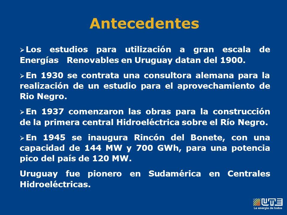 Los estudios para utilización a gran escala de Energías Renovables en Uruguay datan del 1900.