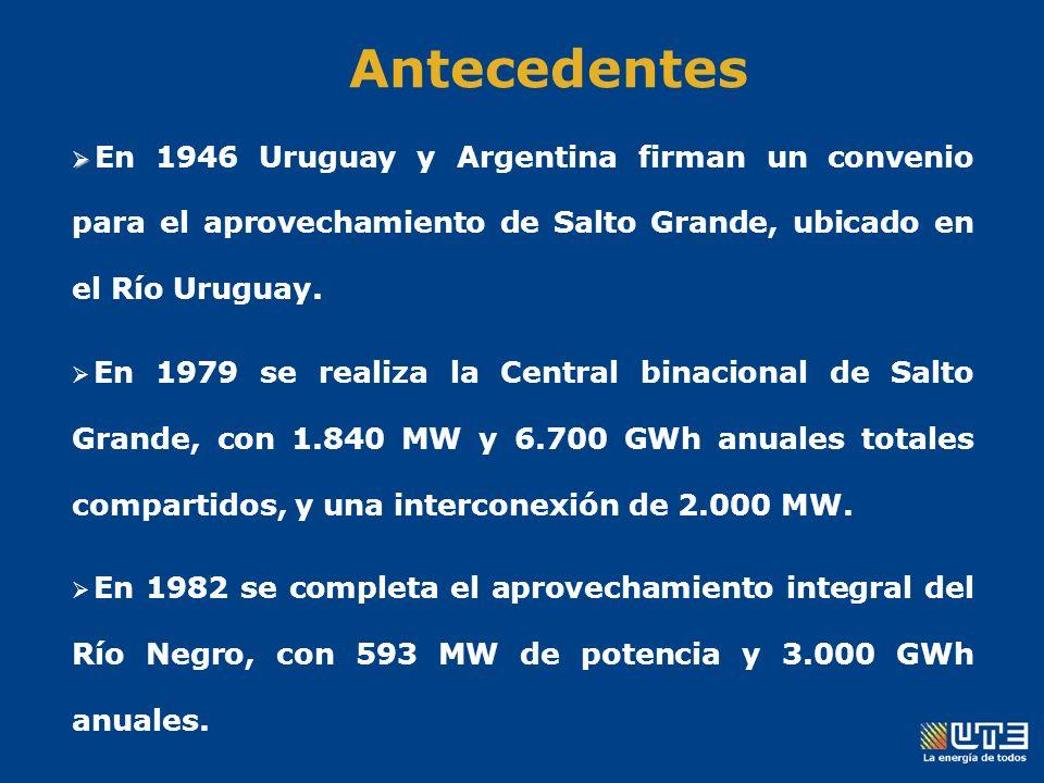 En 1946 Uruguay y Argentina firman un convenio para el aprovechamiento de Salto Grande, ubicado en el Río Uruguay.