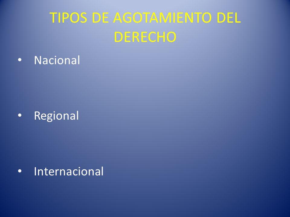 TIPOS DE AGOTAMIENTO DEL DERECHO Nacional Regional Internacional
