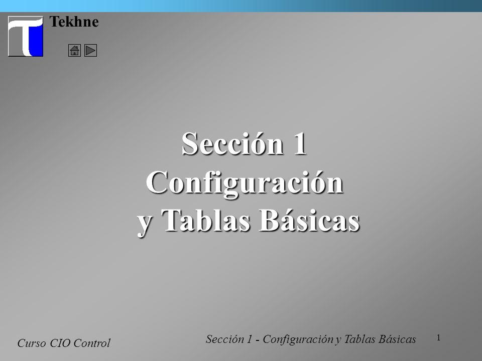 1 Tekhne Curso CIO Control Sección 1 Configuración y Tablas Básicas y Tablas Básicas Sección 1 - Configuración y Tablas Básicas