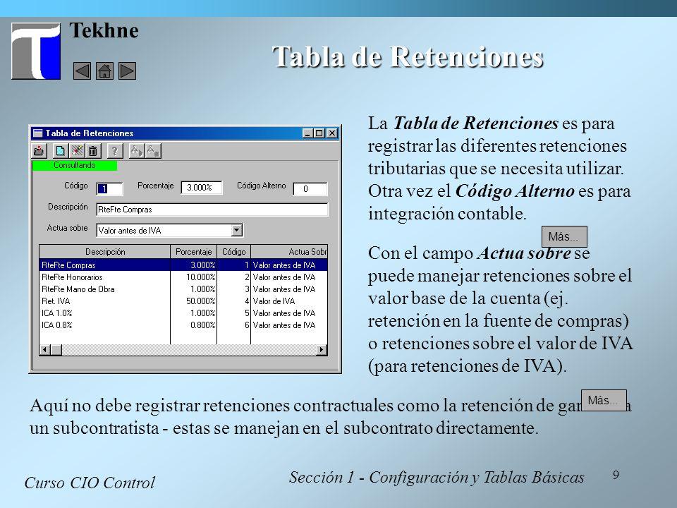 9 Tekhne Tabla de Retenciones Curso CIO Control Sección 1 - Configuración y Tablas Básicas La Tabla de Retenciones es para registrar las diferentes re