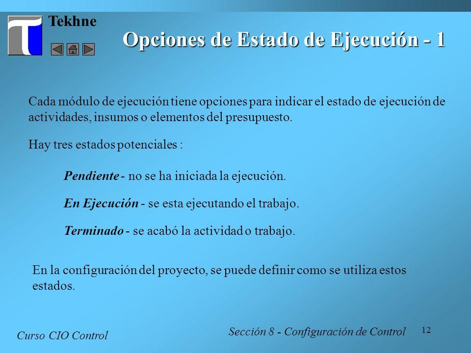 12 Tekhne Opciones de Estado de Ejecución - 1 Curso CIO Control Sección 8 - Configuración de Control Cada módulo de ejecución tiene opciones para indi