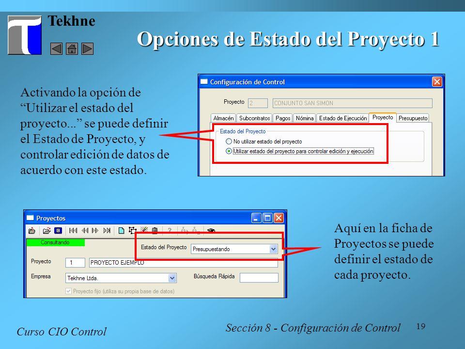 19 Tekhne Curso CIO Control Sección 8 - Configuración de Control Opciones de Estado del Proyecto 1 Activando la opción de Utilizar el estado del proye