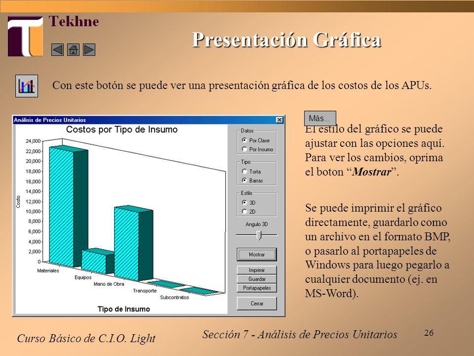 26 Presentación Gráfica Curso Básico de C.I.O. Light Con este botón se puede ver una presentación gráfica de los costos de los APUs. Sección 7 - Análi