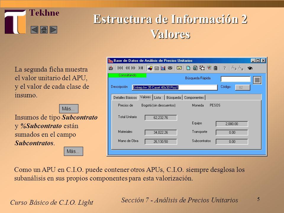 5 Curso Básico de C.I.O. Light Estructura de Información 2 Valores Sección 7 - Análisis de Precios Unitarios La segunda ficha muestra el valor unitari