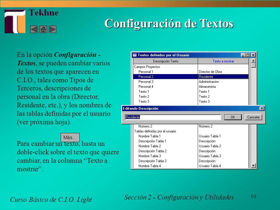 10 Configuración de Textos Curso Básico de C.I.O.