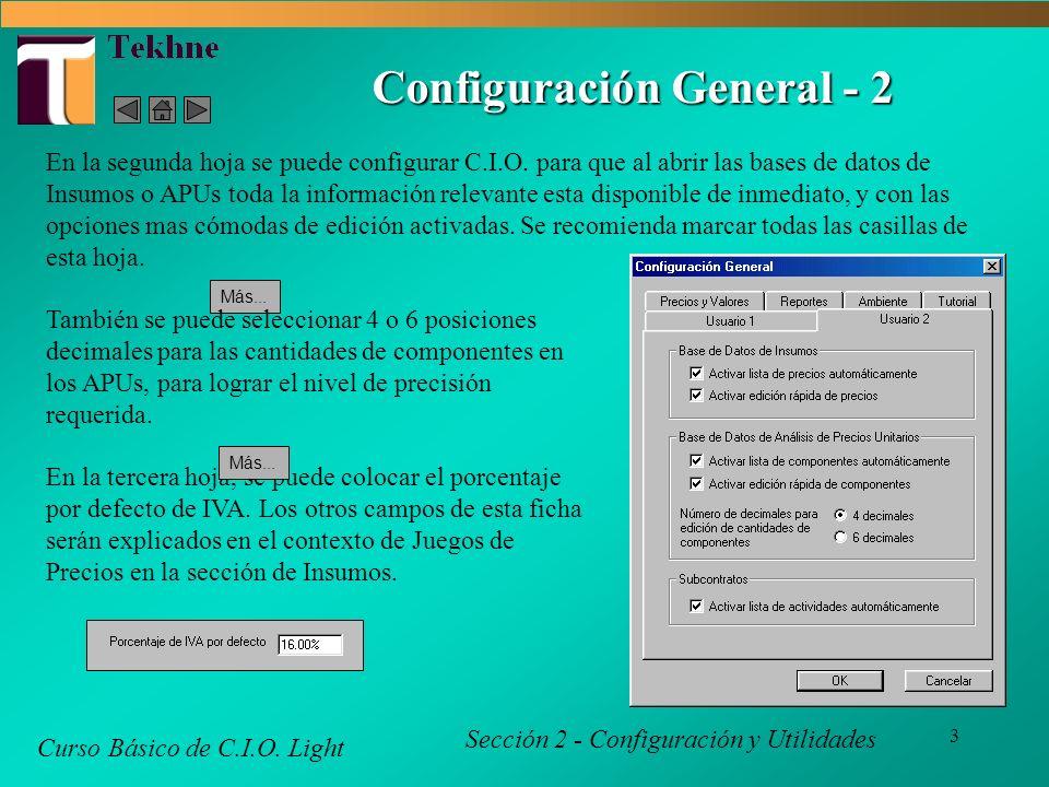 4 Configuración General - 3 Curso Básico de C.I.O.
