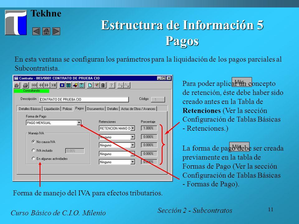 11 Tekhne Estructura de Información 5 Pagos Sección 2 - Subcontratos Curso Básico de C.I.O. Milenio En esta ventana se configuran los parámetros para