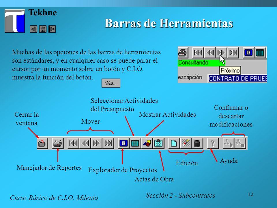 12 Tekhne Barras de Herramientas Sección 2 - Subcontratos Curso Básico de C.I.O. Milenio Muchas de las opciones de las barras de herramientas son está