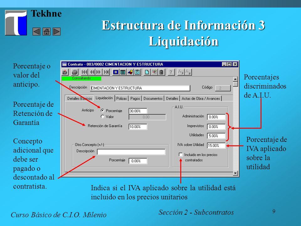 9 Tekhne Estructura de Información 3 Liquidación Sección 2 - Subcontratos Curso Básico de C.I.O. Milenio Porcentajes discriminados de A.I.U. Porcentaj