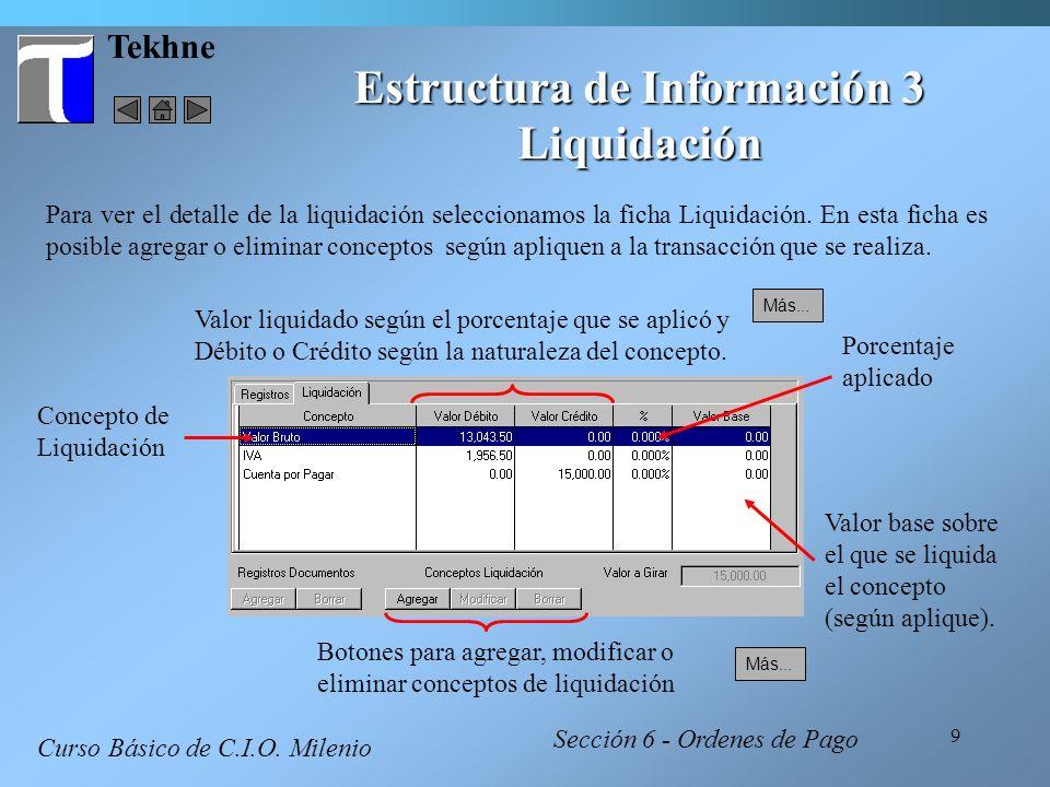 9 Tekhne Estructura de Información 3 Liquidación Curso Básico de C.I.O. Milenio Concepto de Liquidación Valor liquidado según el porcentaje que se apl