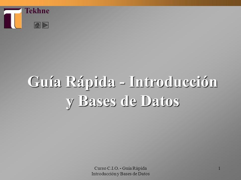 Curso C.I.O. - Guía Rápida Introducción y Bases de Datos 1 Guía Rápida - Introducción y Bases de Datos Tekhne