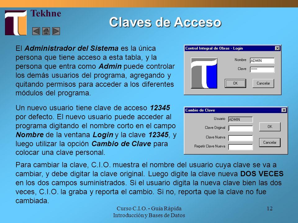 Curso C.I.O. - Guía Rápida Introducción y Bases de Datos 12 Un nuevo usuario tiene clave de acceso 12345 por defecto. El nuevo usuario puede acceder a