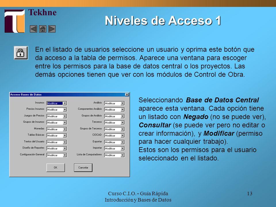 Curso C.I.O. - Guía Rápida Introducción y Bases de Datos 13 En el listado de usuarios seleccione un usuario y oprima este botón que da acceso a la tab
