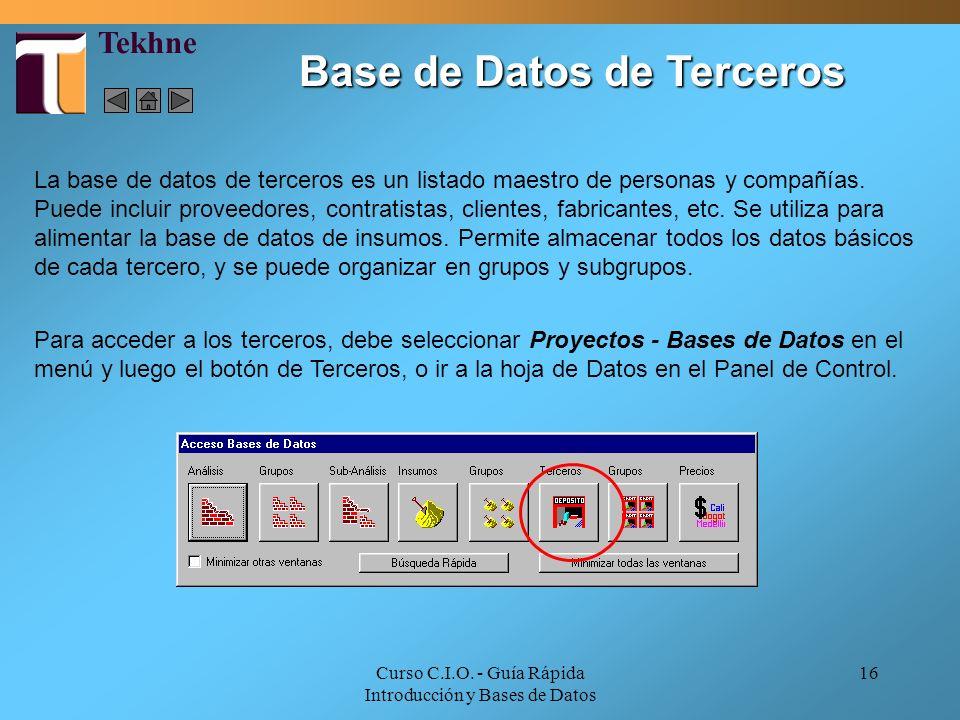 Curso C.I.O. - Guía Rápida Introducción y Bases de Datos 16 La base de datos de terceros es un listado maestro de personas y compañías. Puede incluir