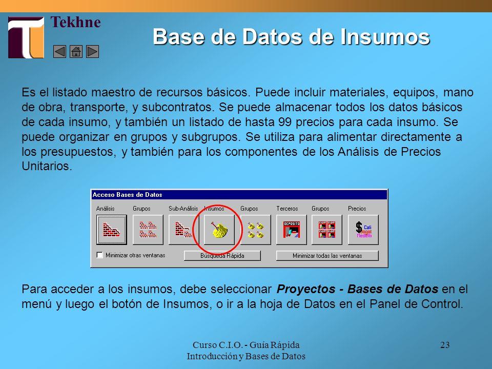 Curso C.I.O. - Guía Rápida Introducción y Bases de Datos 23 Base de Datos de Insumos Es el listado maestro de recursos básicos. Puede incluir material