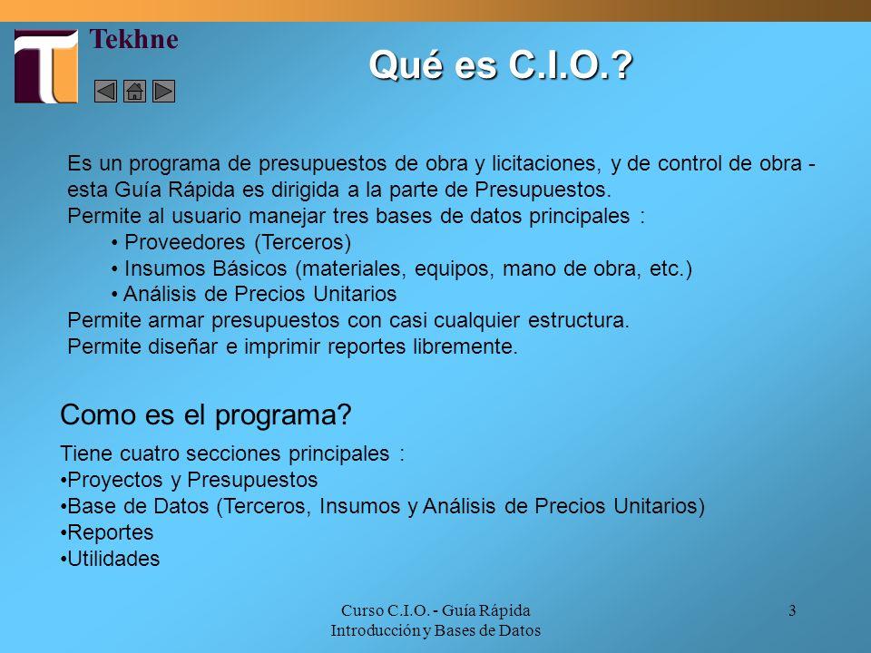 Curso C.I.O. - Guía Rápida Introducción y Bases de Datos 3 Qué es C.I.O.? Es un programa de presupuestos de obra y licitaciones, y de control de obra
