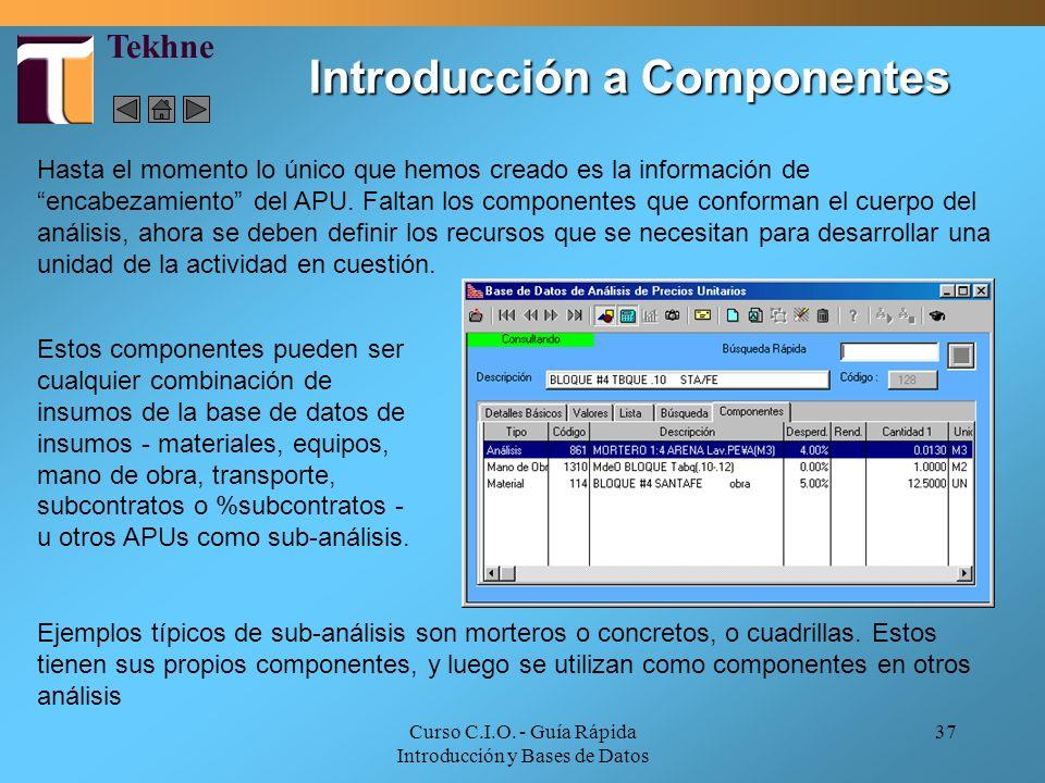 Curso C.I.O. - Guía Rápida Introducción y Bases de Datos 37 Introducción a Componentes Hasta el momento lo único que hemos creado es la información de