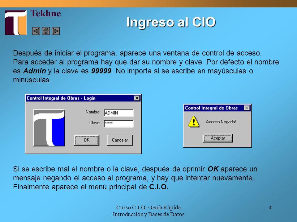 Curso C.I.O. - Guía Rápida Introducción y Bases de Datos 4 Ingreso al CIO Después de iniciar el programa, aparece una ventana de control de acceso. Pa