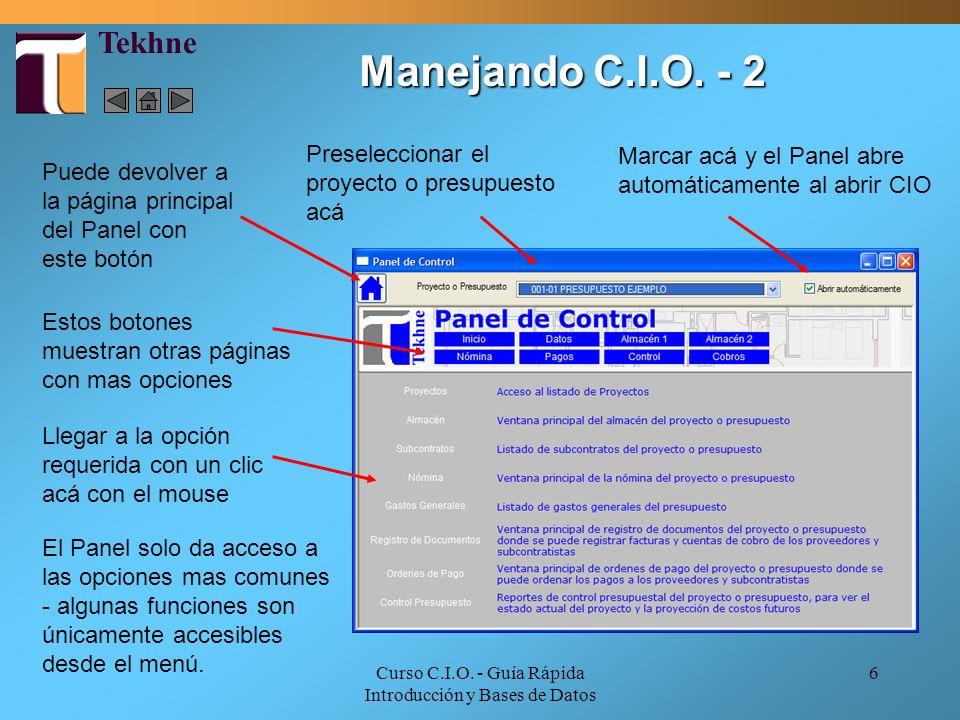 Curso C.I.O. - Guía Rápida Introducción y Bases de Datos 6 Llegar a la opción requerida con un clic acá con el mouse Puede devolver a la página princi
