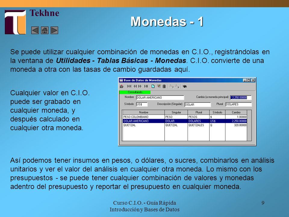 Curso C.I.O. - Guía Rápida Introducción y Bases de Datos 9 Se puede utilizar cualquier combinación de monedas en C.I.O., registrándolas en la ventana