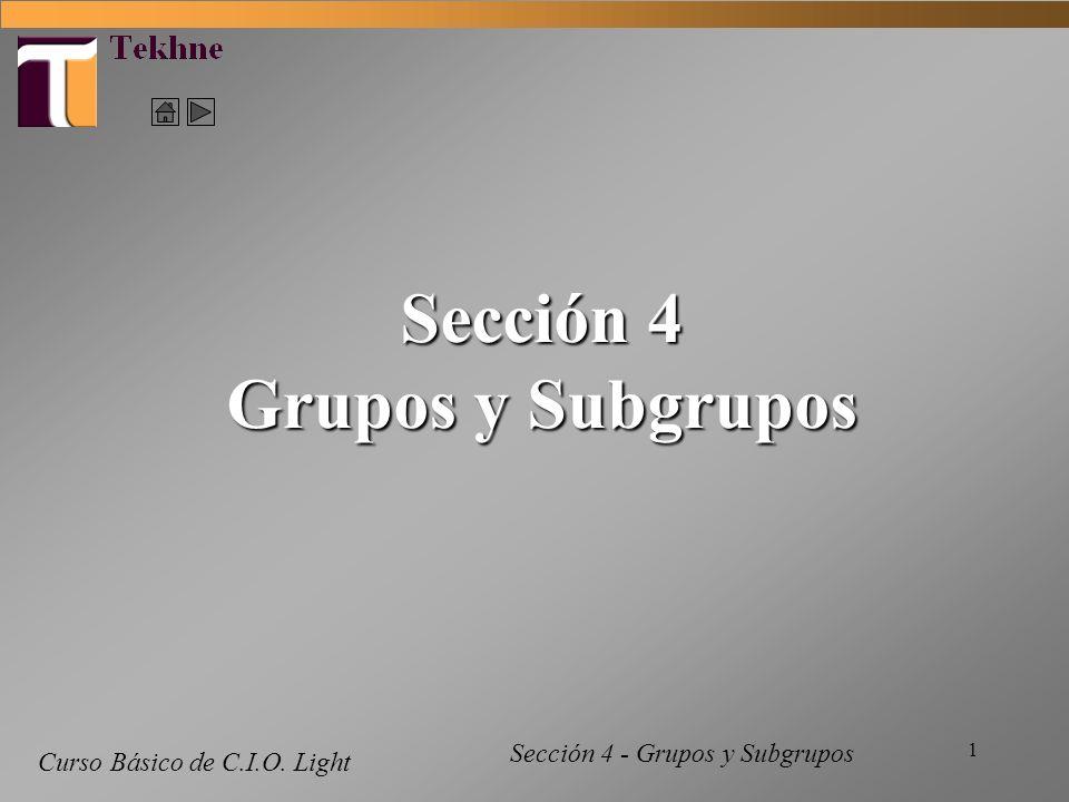 1 Curso Básico de C.I.O. Light Sección 4 Grupos y Subgrupos Sección 4 - Grupos y Subgrupos