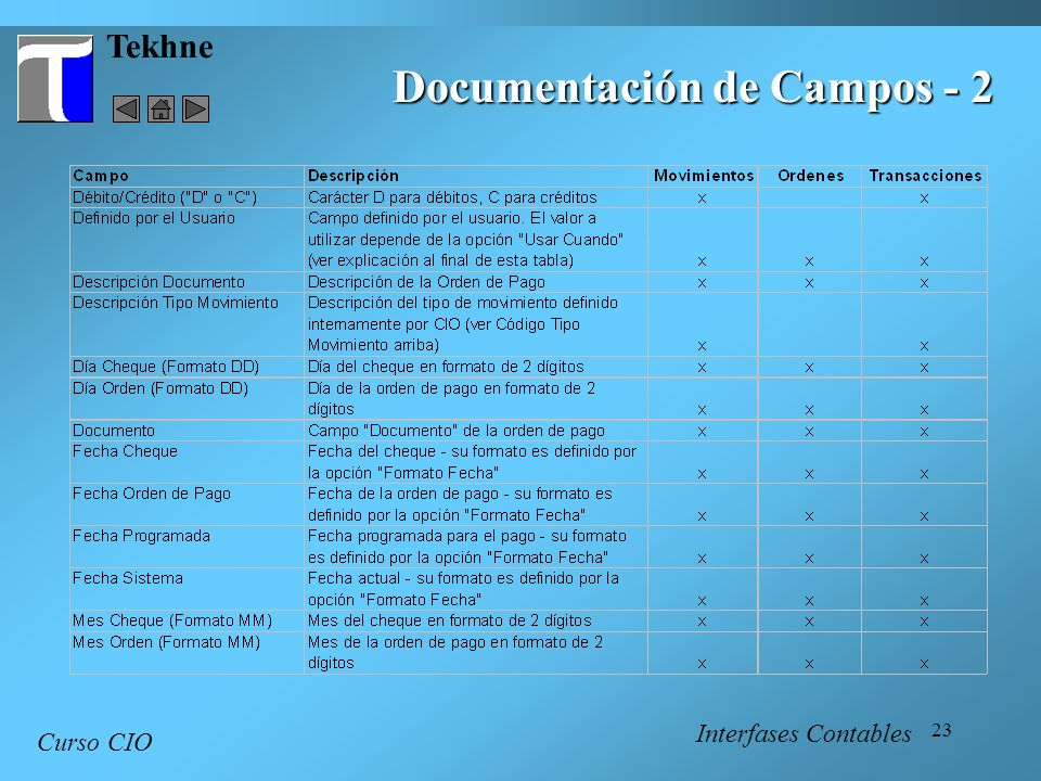 23 Tekhne Curso CIO Interfases Contables Documentación de Campos - 2