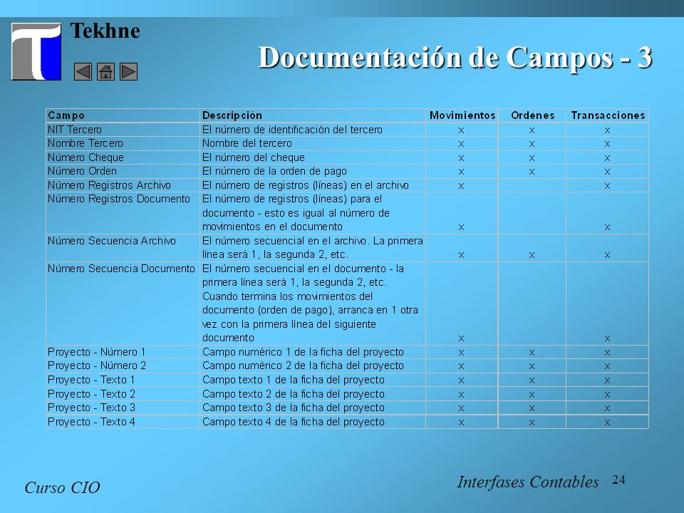 24 Tekhne Curso CIO Interfases Contables Documentación de Campos - 3