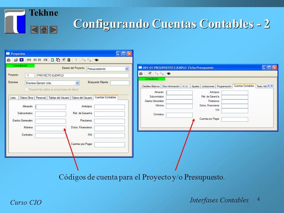 4 Tekhne Configurando Cuentas Contables - 2 Curso CIO Códigos de cuenta para el Proyecto y/o Presupuesto. Interfases Contables