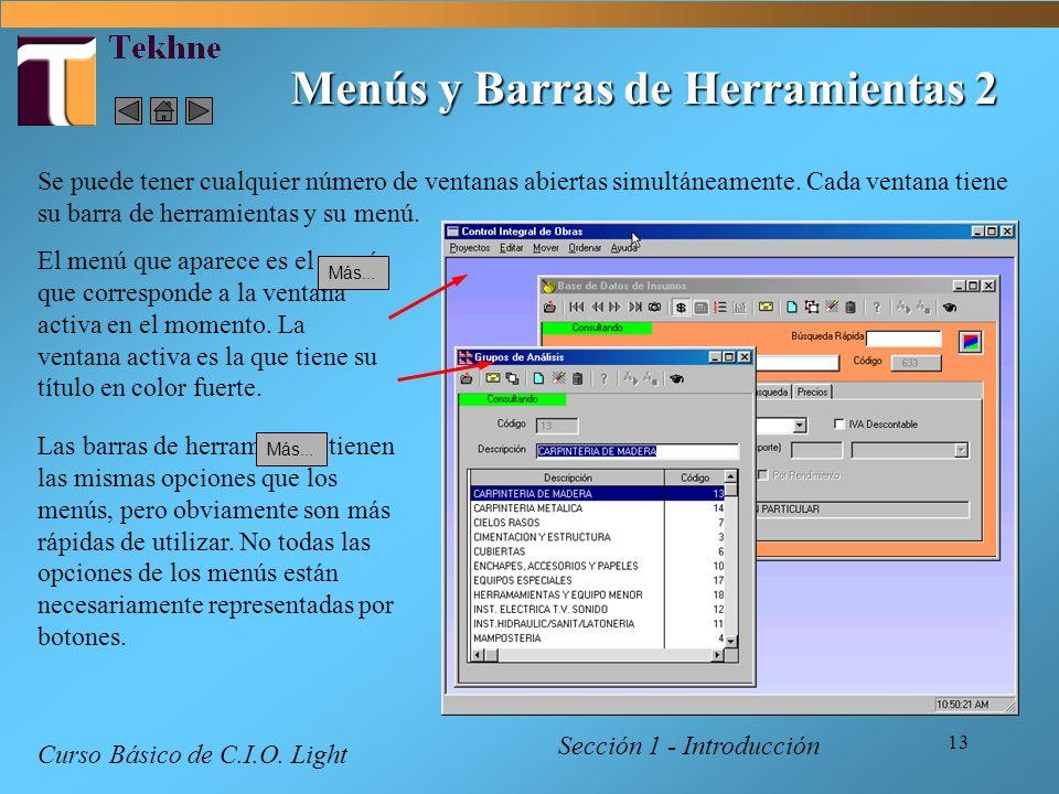 13 Menús y Barras de Herramientas 2 Sección 1 - Introducción Curso Básico de C.I.O. Light Se puede tener cualquier número de ventanas abiertas simultá