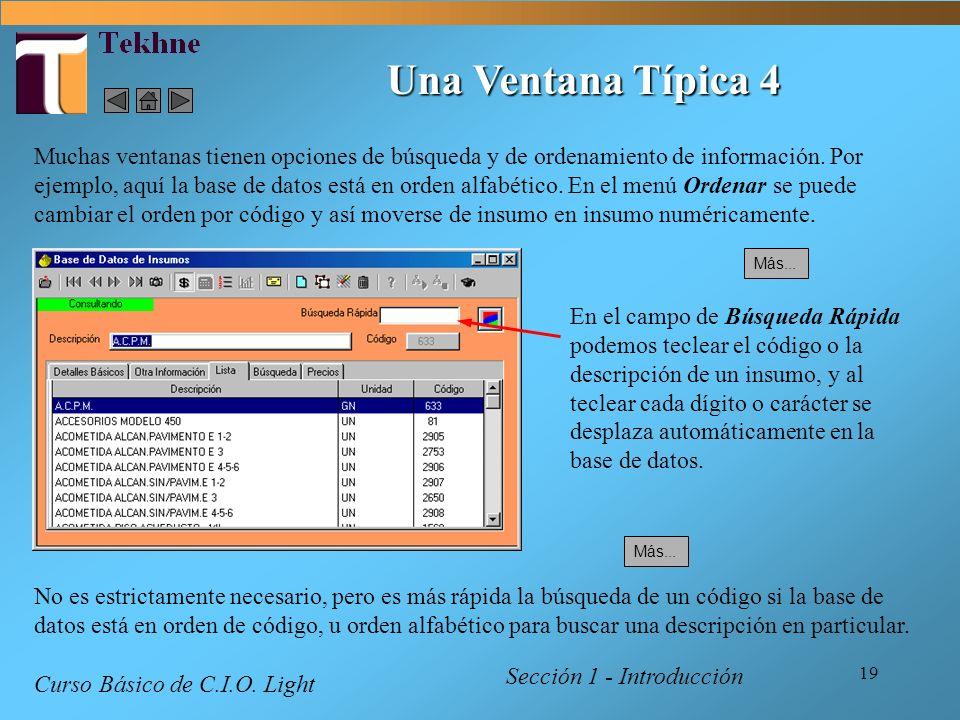 19 Una Ventana Típica 4 Sección 1 - Introducción Curso Básico de C.I.O. Light Muchas ventanas tienen opciones de búsqueda y de ordenamiento de informa
