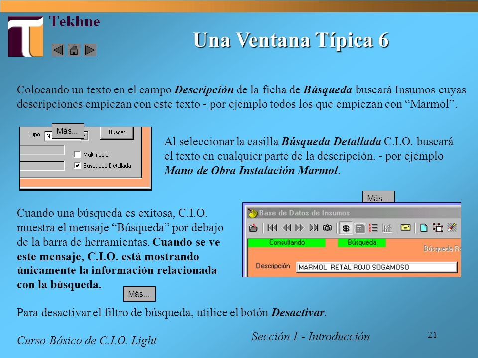 21 Una Ventana Típica 6 Sección 1 - Introducción Curso Básico de C.I.O. Light Cuando una búsqueda es exitosa, C.I.O. muestra el mensaje Búsqueda por d