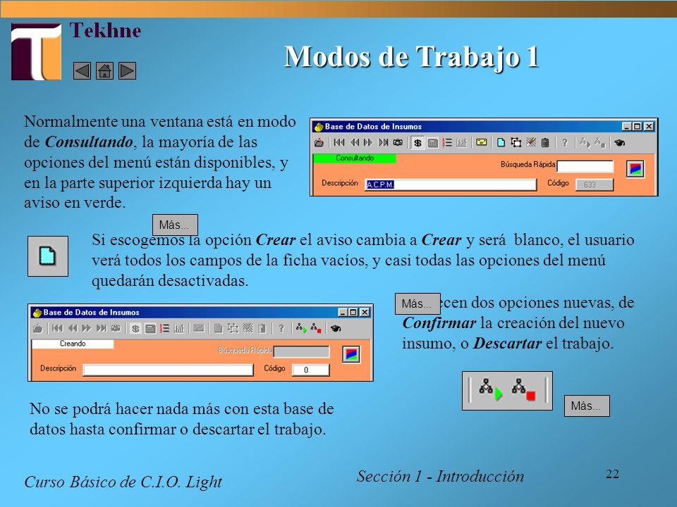 22 Modos de Trabajo 1 Sección 1 - Introducción Curso Básico de C.I.O. Light Normalmente una ventana está en modo de Consultando, la mayoría de las opc