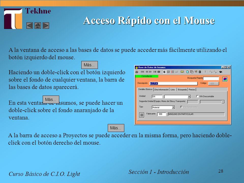 28 Acceso Rápido con el Mouse Sección 1 - Introducción Curso Básico de C.I.O. Light A la ventana de acceso a las bases de datos se puede acceder más f