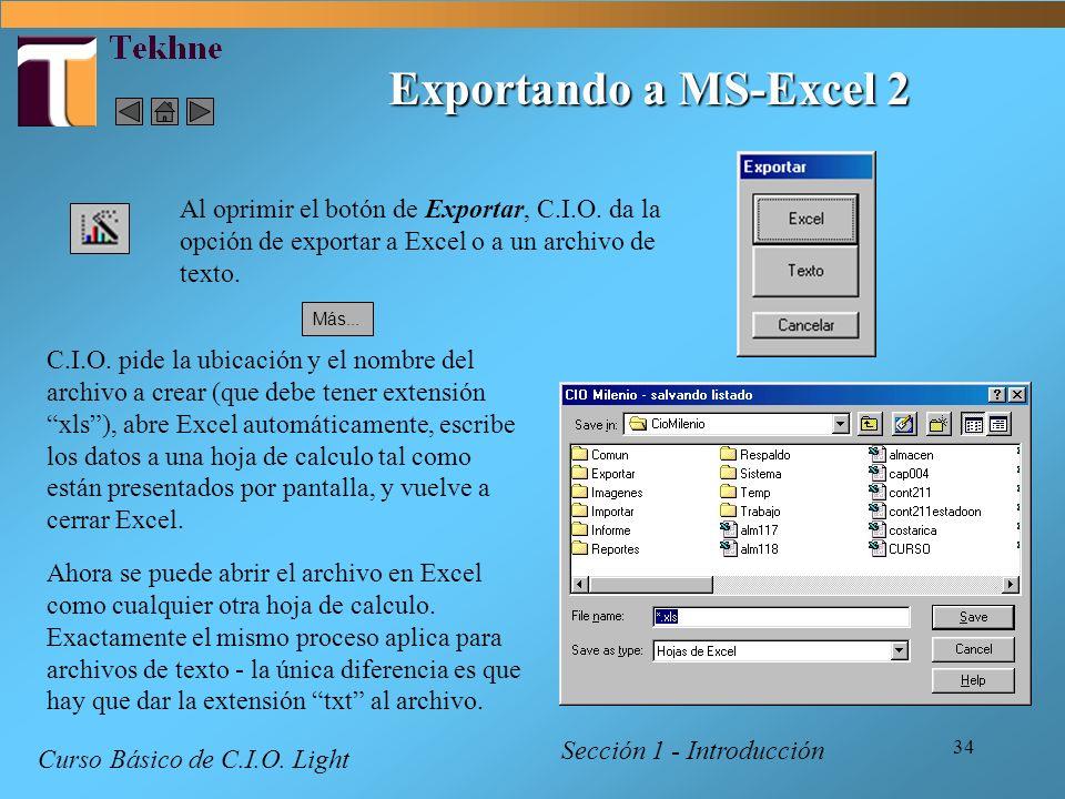 34 Sección 1 - Introducción Curso Básico de C.I.O. Light C.I.O. pide la ubicación y el nombre del archivo a crear (que debe tener extensión xls), abre