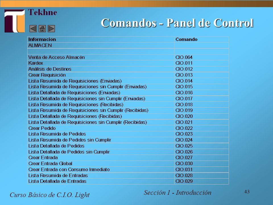 43 Comandos - Panel de Control Curso Básico de C.I.O. Light Sección 1 - Introducción