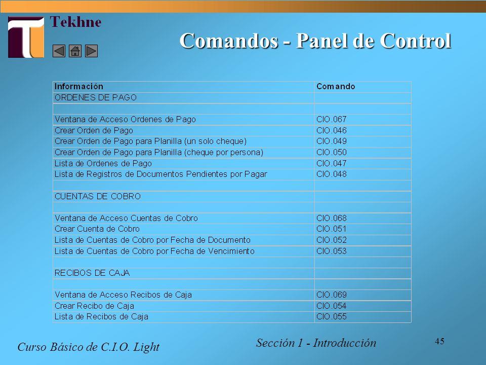 45 Comandos - Panel de Control Curso Básico de C.I.O. Light Sección 1 - Introducción