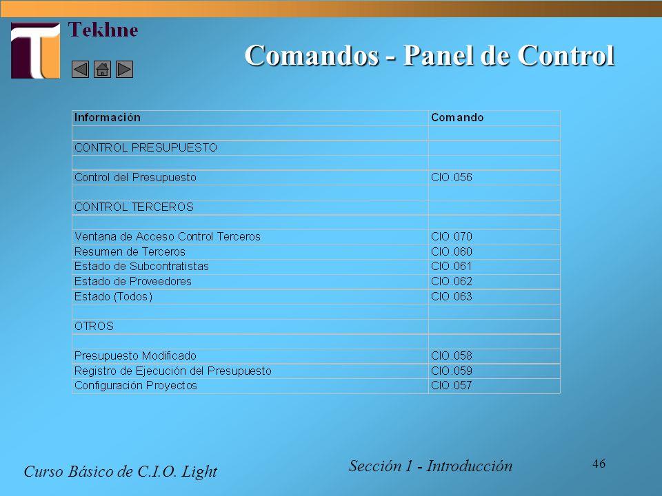 46 Comandos - Panel de Control Curso Básico de C.I.O. Light Sección 1 - Introducción