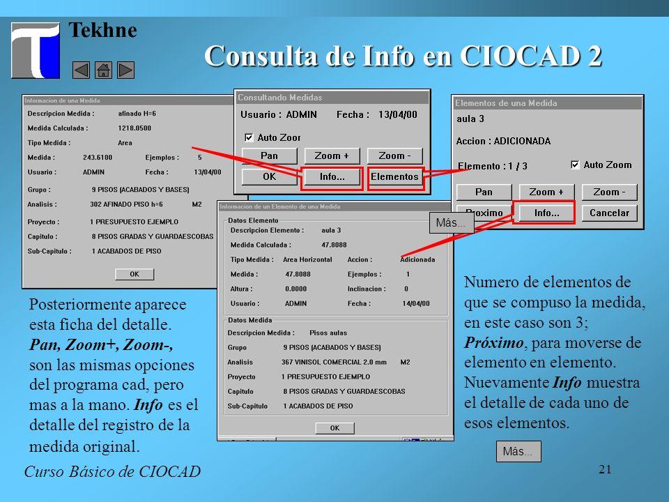 21 Tekhne Consulta de Info en CIOCAD 2 Curso Básico de CIOCAD Posteriormente aparece esta ficha del detalle. Pan, Zoom+, Zoom-, son las mismas opcione